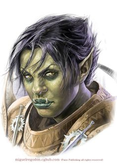 Irabeth (Half-Orc) by MiguelRegodon