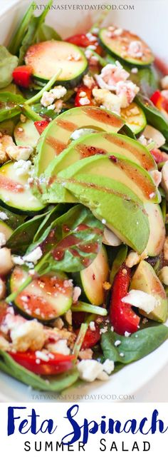 4 Points About Vintage And Standard Elizabethan Cooking Recipes! Feta Spinach Salad With Raspberry Vinaigrette - Tatyanas Everyday Food Shrimp Salad Recipes, Spinach Salad Recipes, Best Salad Recipes, Asparagus Recipe, Beef Recipes, Cooking Recipes, Asparagus Salad, Tatyana's Everyday Food, Healty Dinner