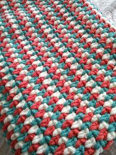 Crochet Tricolor Sand Stitch Afghan