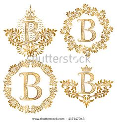 in coats of arms form, letter B in floral round frame, letter B in wreath, heraldic monogram in floral decoration with crown. Vintage Monogram, Monogram Letters, Letter B Tattoo, Royalty Free Images, Royalty Free Stock Photos, Embroidery Letters, Clip Art, Round Frame, Abstract Images