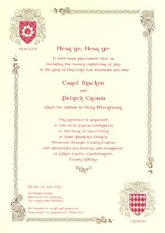 Medieval Wedding Invitations Uk