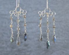 Labradorite Chandelier Earrings, Labradorite Earrings, Chandelier Earrings, Silver Chandelier Earrings, Silver Labradorite Earrings by Gemstonique on Etsy https://www.etsy.com/listing/239464804/labradorite-chandelier-earrings