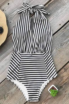 Farewell Cambridge Stripe One-piece Swimsuit bellenovo Details: Striped Halter design Removable padding bra Regular wash spandex - Swimsuits - Ideas of Swimsuits Swimsuits For Teens, Unique Swimsuits, Trendy Swimwear, Women's Swimwear, Affordable Swimsuits, Swimwear Fashion, Retro Swimwear, Tight Swimsuit, Striped Swimsuit
