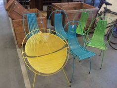 60's Styled Wrought Iron Garden Chairs. Beautiful reproductions of Eames style wrought iron garden or outdoor patio chairs from the 60's era that look so funky in even the most trendy of outdoor entertainment areas or period setting. Locally manufactured and built to last for decades, these chairs will be a talking point when you are entertaining with friends. Round style is $260.00, other styles are $220.00.