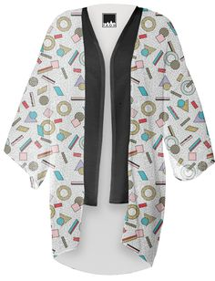 80s Memphis Milan inspired design in Pastel, seasonofvictory PAOM Print All Over Me kimono jacket