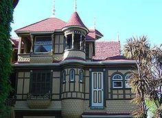 Winchester Mystery House - Mansion- doors and steps that lead to no where etc. mrs. Winchester was told by a psychic that she needed to continually built additions to the house to make appease the ghosts that were killed by her Late husbands invention. The Winchester automatic gun. No one knows how many rooms are in the home. It is too difficult and confusing to count.