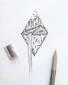 Waterfall dream #illustration #tiny #waterfall #nature