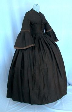 1860/late1850's Teen Mourning Dress, Sheer wool blend, Belled Sleeves, Directional Pleating