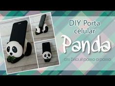 DIY - Porta celular Panda de biscuit Panda Bebe, Diy Air Dry Clay, Clay Pen, Ariana Grande Drawings, Decoden Phone Case, Name Card Holder, Panda Party, Cute Clay, Pasta Flexible
