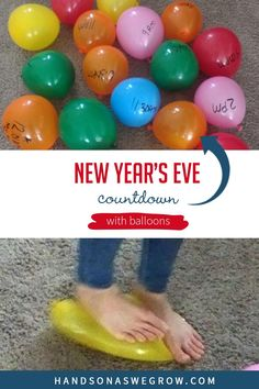 Make this New Year's Eve Day one to remember by popping balloons all day long to reveal activities for toddlers or preschoolers to do alone or with the family. Super simple activity to do with your kids at home.