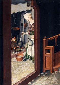 Medieval kitchen scene