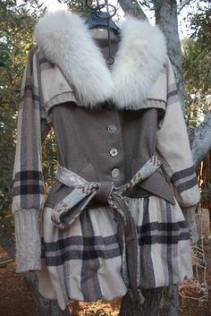 Reserved for Nina showdiva designs Wool n Sweater Gathered Bubble Coat Fox Collar Empulets n More