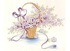 Spring Wicker Basket Flowers Ribbon Item  #CeramicPotteryAccessories
