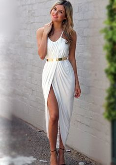 White Plain Condole Belt Pleated Irregular Dress