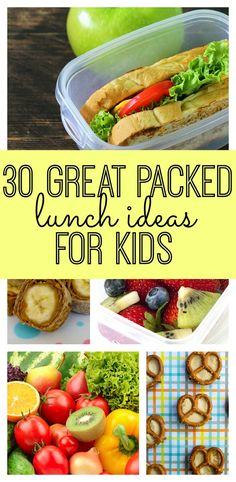 30 Great Packed Lunch Ideas for Kids! A perfect list for the start of the school year! Your kids will love these lunches. 30 Great Packed Lunch Ideas for Kids! A perfect list for the start of the school year! Your kids will love these lunches. Lunch Box Bento, Lunch Snacks, Lunch Recipes, Baby Food Recipes, Healthy Snacks, Healthy Recipes, Kid Lunches, School Lunches, Lunch Boxes