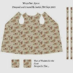 A Small Hearts Desire: Printable Apron Patterns and material Doll Clothes Patterns, Doll Patterns, Clothing Patterns, Sewing Patterns, Apron Patterns, Dress Making Patterns, Apron Designs, Dressmaking, Diy Clothes