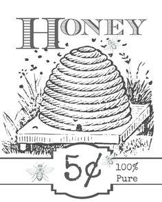 Free Printable Art, Printable Labels, Printable Designs, Free Printables, Bee Coloring Pages, Printable Coloring Pages, Colouring, Vintage Bee, Vintage Labels