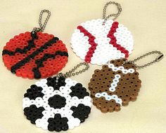 we could make fruit bead keychains instead of sports.   Sports themed perler bead keychains