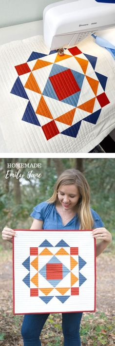 Make this modern quilt wall hanging pattern as trendy home decor, a quilted pillow, or even a tote bag! Grab the paradigm quilt pattern from homemade emily jane to get started sewing your next modern quilt project Vintage Quilts Patterns, Baby Quilt Patterns, Modern Quilt Patterns, Scrappy Quilts, Mini Quilts, Quilting Projects, Sewing Projects, Modern Quilting Designs, Straight Line Quilting