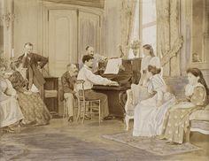 作者不詳 《ショーソンとルロールのそばでピアノを弾くクロード・ドビュッシー、セーヌ=エ=マルヌにて》