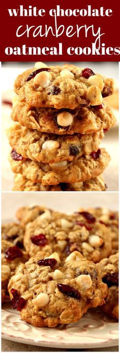 Cranberry White Chocolate Oatmeal Cookies Recipe - chewy oatmeal cookies filled with dried cranberries and white chocolate chips! It's quick and easy to make a batch and enjoy with a glass of milk!