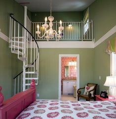 that is the coolest bedroom ever for a little girl... loft with awesome staircase!