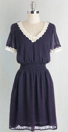 feminine lace trim navy dress