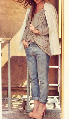 Dressed up boyfriend jeans.