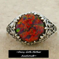 'Orange Fire Opal Vintage Filigree Sterling Silver Ring ' is going up for auction at  10pm Wed, Jun 12 with a starting bid of $1.