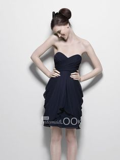 little black chiffon strapless knee length bridesmaid dress with sweetheart neck
