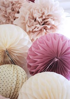 purple, ivory and blush pom poms and paper accordions | via @perfectpalette