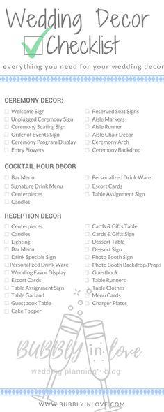 Wedding Decor Checklist | Wedding Decor | Ceremony Decor | Reception Decor | Cocktail Hour Decor | Wedding