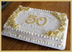 All Buttercream Dusted With Gold Sparkle Dust All buttercream. Dusted with gold sparkle dust. Golden Anniversary Cake, 50th Anniversary Cakes, Anniversary Ideas, Happy Anniversary, 50th Wedding Anniversary Decorations, Wedding Centerpieces, Sheet Cake Designs, Birthday Sheet Cakes, Wedding Sheet Cakes