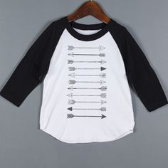 ARROW BASEBALL TODDLER TEE- KIDS RAGLAN TEE- ARROW GRAPHIC TEE- CHILDREN'S CLOTHING