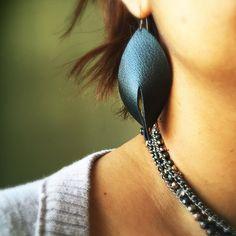 Metallic Gunmetal Genuine Leather Earrings by ZestLeatherStudio