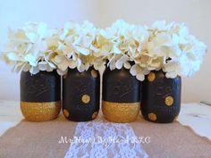 Black and Gold Glitter Mason Jars, Graduation Centerpieces, Event Decor, Rustic Home Decor, Painted Ball Jars, Gold Polka Dots, Black Vases by MyHeartByHand on Etsy