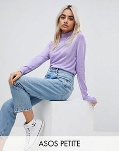 ASOS PETITE Sweater with Roll Neck and Rib Detail