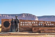 Monument Valley Navajo Tribal Park, Oljato-Monument Valley, Utah — by Pon Xayavong Photography. The welcome statue to the monument valley Navajo park.