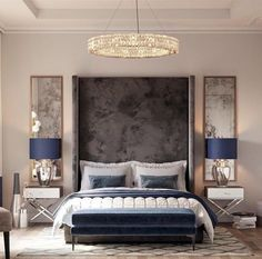 -When Art Meets Design: Lumière Lighting Collection- Discover exquisite chandeliers, table lamps, wall lamps, suspension lamps, and many other lighting fixtures crafted by gifted furniture makers with the best materials out there. Bedroom Green, Cozy Bedroom, Home Decor Bedroom, Modern Bedroom, Interior Design Living Room, Bedroom Furniture, Bedroom Ideas, Chandelier Bedroom, Bedroom Lighting