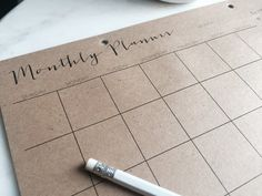Monthly Planner Kraft Notepad by WrinkleAndCrease on Etsy