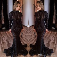 2017 Michael Costello Long Sleeve Prom Dresses Bling Bling Black Sequins High Neck Mermaid Sexy Celebrity Gowns Pageant Evening Dresses Turquoise Prom Dress Unique Vintage Prom Dresses From Beautydesign, $126.06| Dhgate.Com