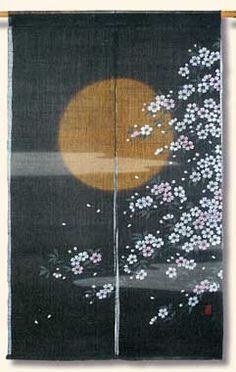 Sun and Cherry Blossoms Noren - Split Entryway or Window Curtains.