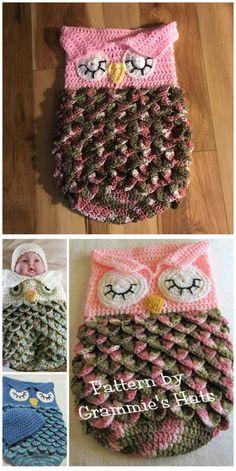 Owl Crochet And Knitted Sleeping Bag Pattern Cutest Crochet & Knitted Owl Sleeping Bag Pattern Baby Cacoon Crochet Pattern, Baby Blanket Crochet, Baby Knitting Patterns, Crochet Patterns, Crochet Baby Clothes, Newborn Crochet, Baby Newborn, Crochet Bebe, Free Crochet