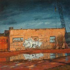"Santa Fe Rail Yard by brian lemke Oil ~ 16"" x 16"""