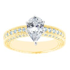 New York City Diamond District 14K Two Tone Pear Shaped Certified Diamond Engagement Ring, Size: 7, White