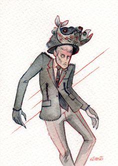 Illustration.Files: Thom Browne F/W 2014 Menswear Fashion Illustration by Roberto Sánchez