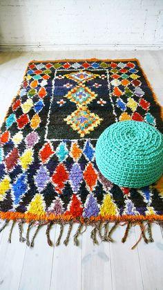 Vintage Moroccan Rug  BOUCHEROUITE tribal por lacasadecoto en Etsy, €235.00