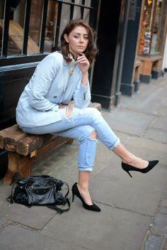 ripped boyfriend jeans, pastel blue blazer, high neck top, balenciaga bag, court shoes, H belt #ejstyle #streetstyle #london #ss14 #emmahill #fashion #blogger #style