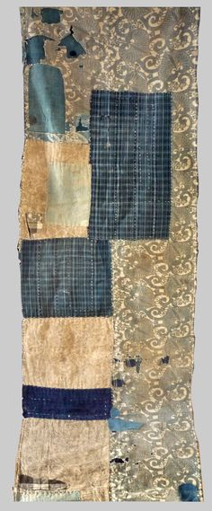 A Japanese Indigo Boro. (back)  Composed in 1900 but made of earlier fragments of shibori,katazome and kasuri  - Esther Fitzgerald Rare Textiles