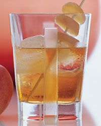 Apple Bomb Recipe on Food & Wine.   Ice, 2 ounces applejack, 2 ounces chilled apple juice, 1 1/2 ounces chilled ginger beer, 3 pieces of candied ginger or 1 apple slice, skewered on a pick